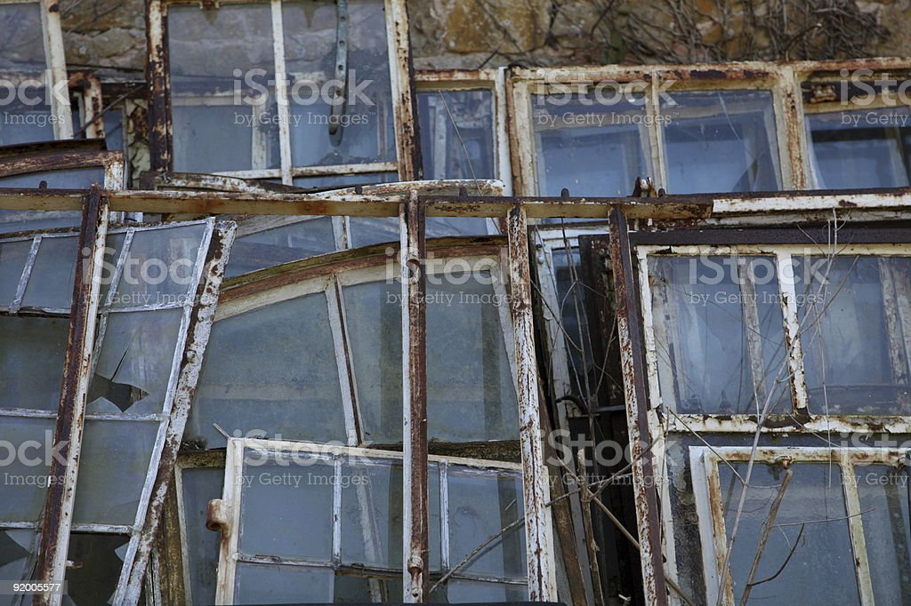 Old metal window frames from building refurbishment royalty-free stock photo