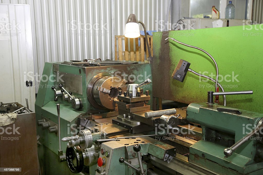 Old metal working lathe, in good condition stock photo