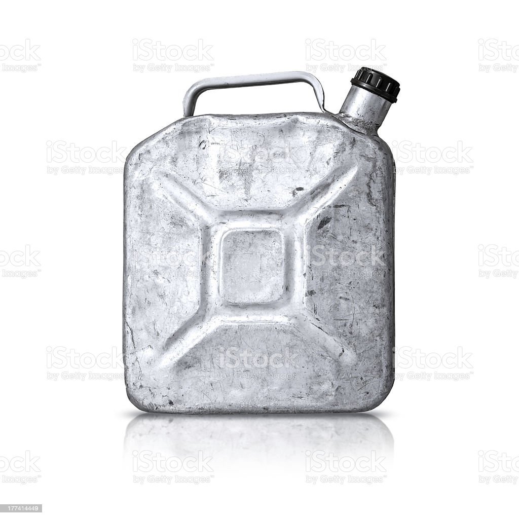Old metallic gasoline jerry can isolated on white stock photo