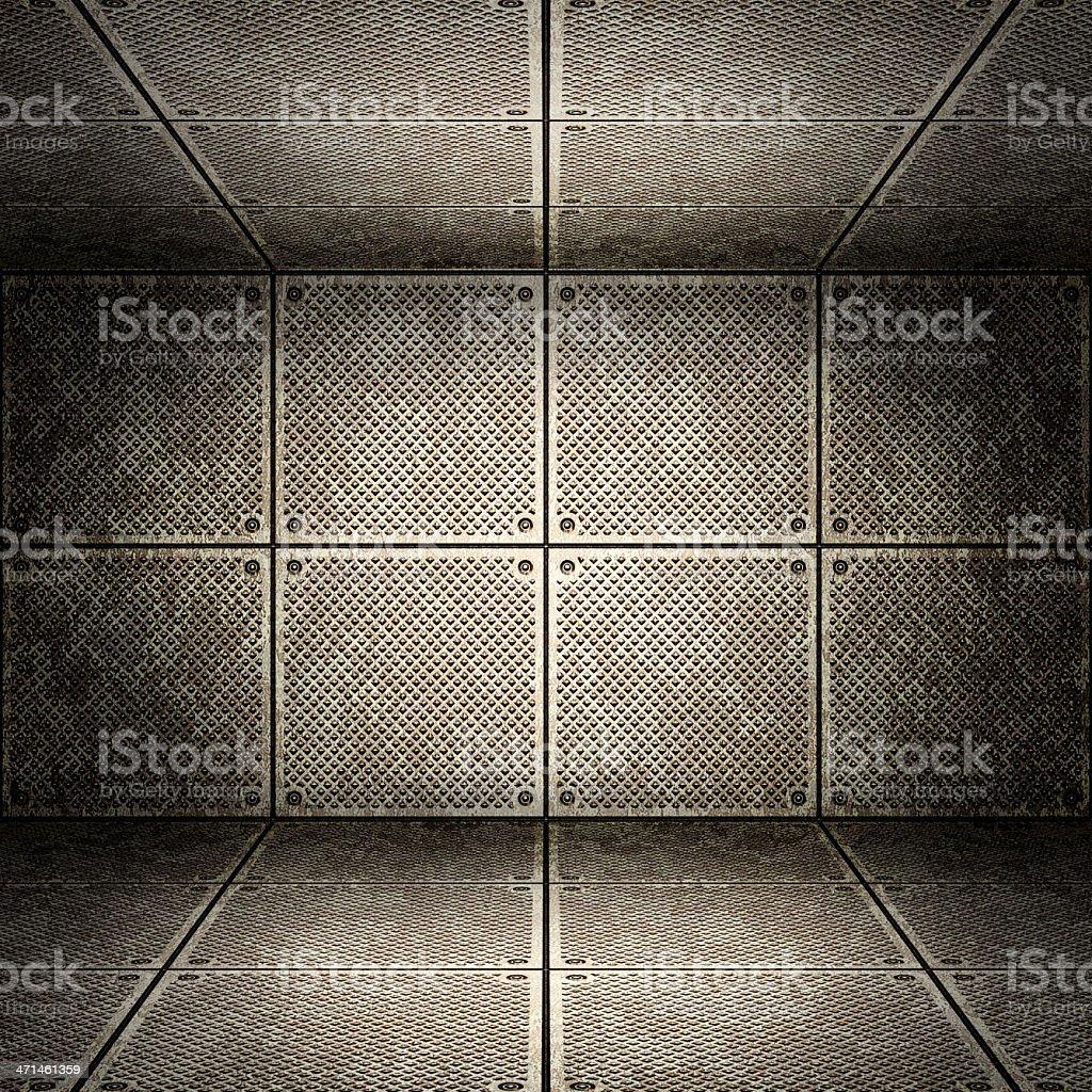 Old metallic interior, texture of metal. stock photo