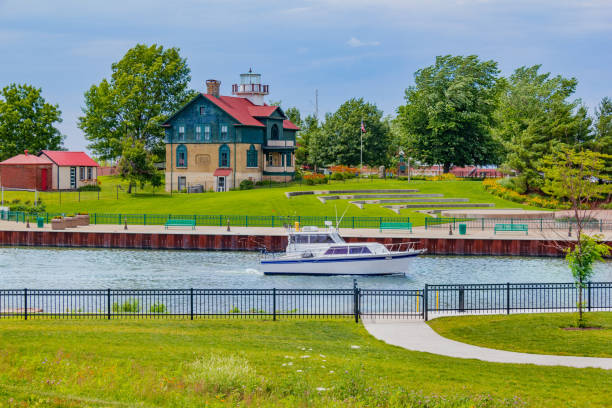 Old Michigan City waterfront and lighthouse, Indiana (P) stock photo