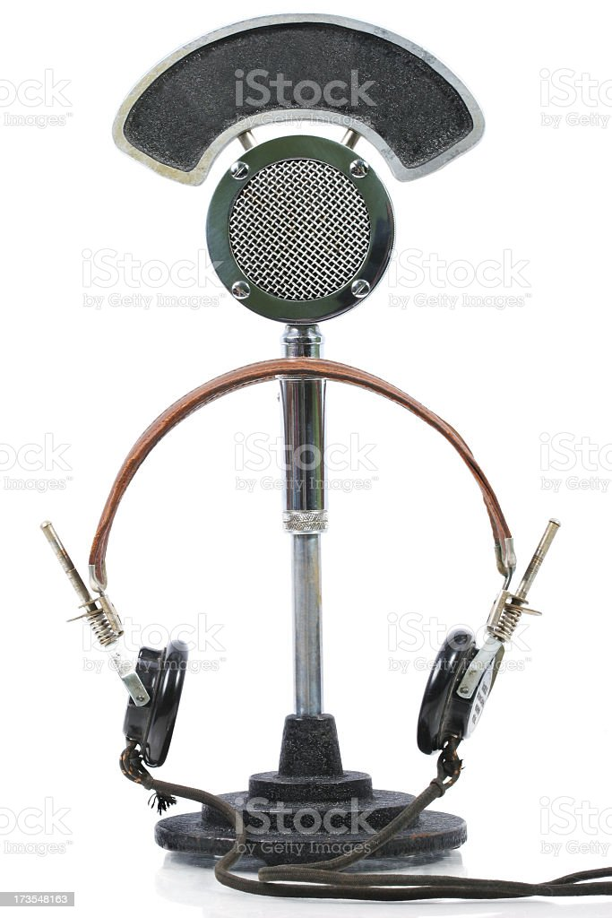 Old Microphone and Headsets stock photo