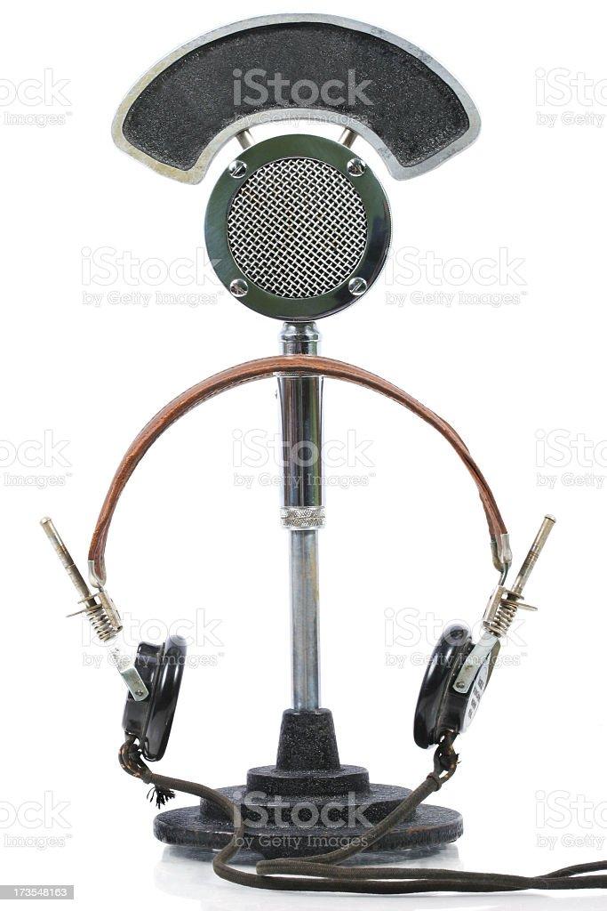 O microfone e fones de ouvido - foto de acervo
