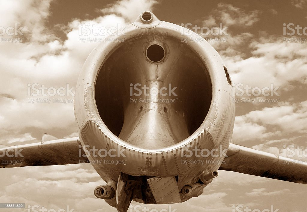 Old military aircraft, flying fighter jet stock photo