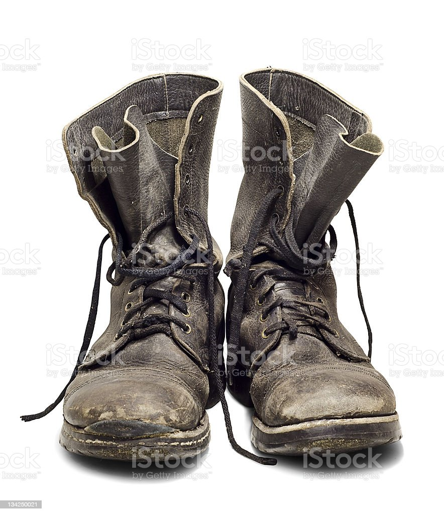 Old military boots stock photo