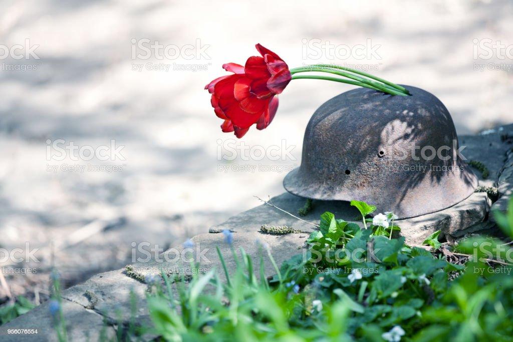 Antiguo casco militar de la segunda guerra mundial con tulipanes rojos - foto de stock