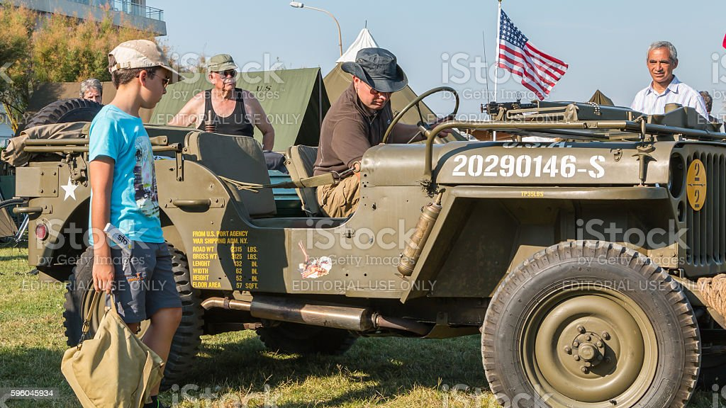 old military jeep with his equipment exhibition royalty-free stock photo