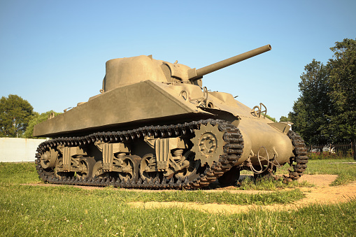 Old military Medium Tank participated in the 2nd world war.