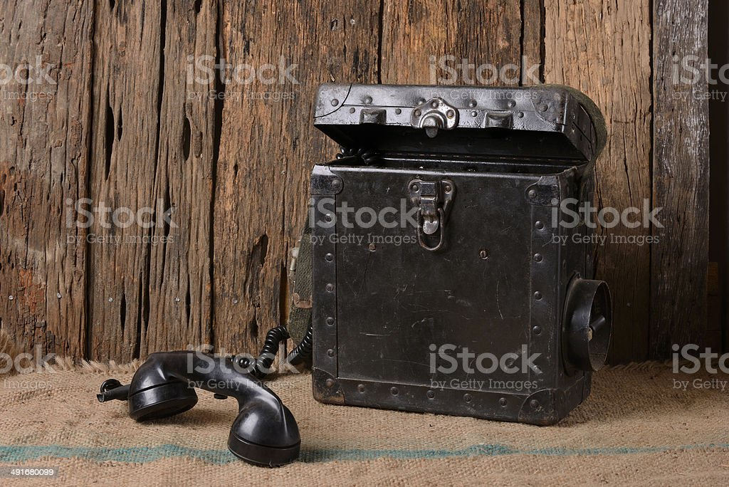 Old military phone stock photo