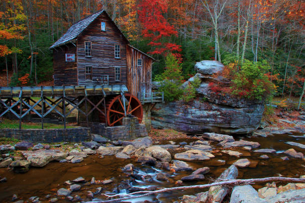 old mill at Babstock state park in west virginia with fall colors old mill at Babstock state park in west virginia with fall colors babcock state park stock pictures, royalty-free photos & images