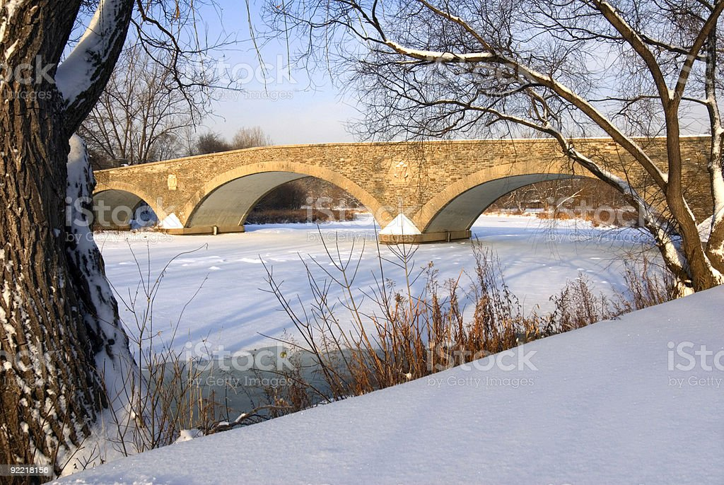 Old Mill Bridge in Winter royalty-free stock photo