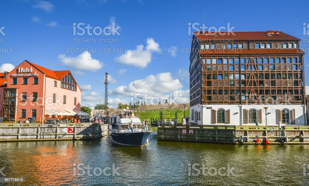 View on modern and old hotels and Curonian Lagoon, city center of...