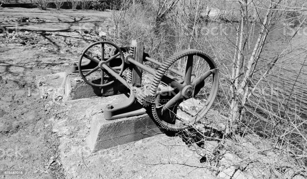 Old mill gears at Stone Mill, Dedham MA. stock photo