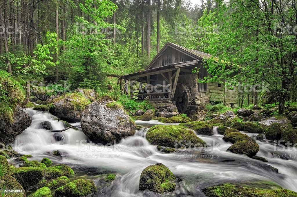 Old Mill in Golling, European Alps at springtime stock photo