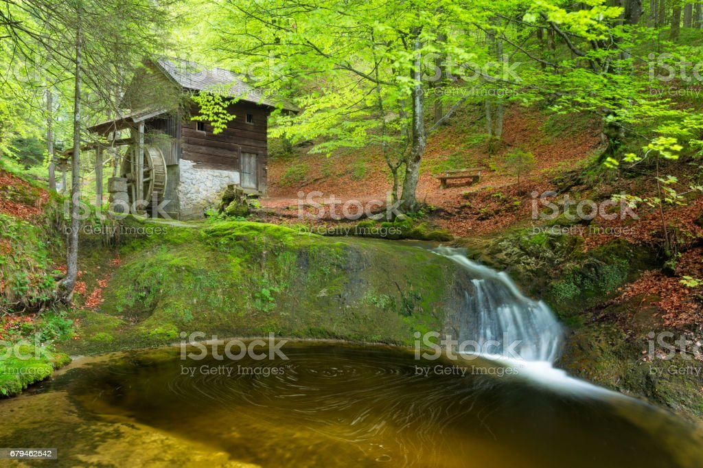 Old Mill in Scheffau - European Alps at springtime stock photo