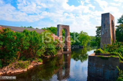 A view of an old mill and long gone bridge in Petersburg Virginia