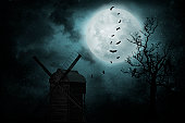 istock Old mill with bats 155445763