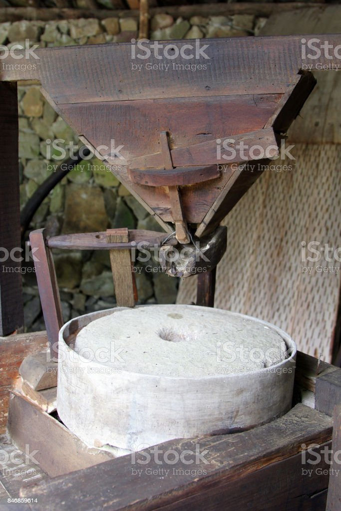 Old millstone mechanism in bulgarian watermill, Etar, Bulgaria stock photo