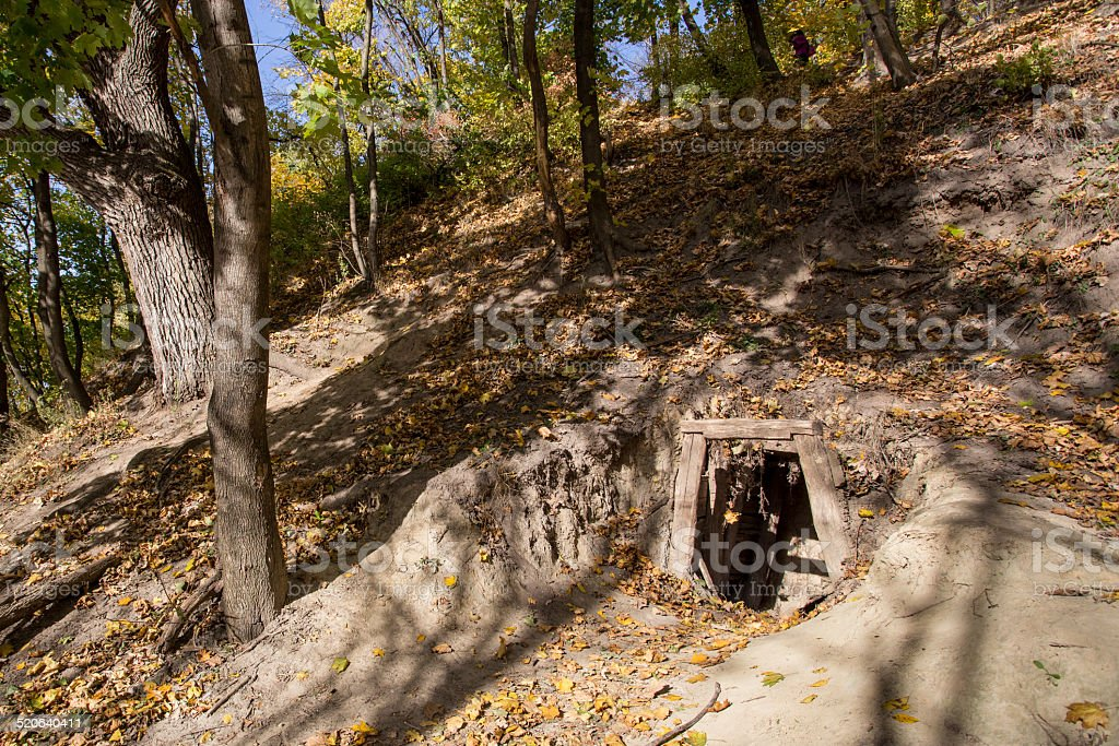 Old mine entrance stock photo