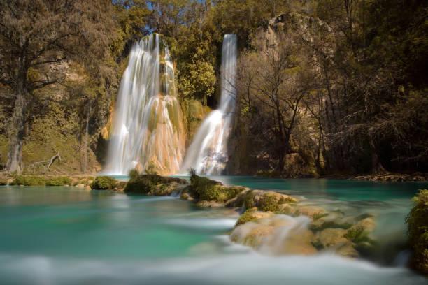 Old Mine Waterfall 2 Vista de la cascada de minas viejas en la huasteca potosina, Mexico san luis potosi stock pictures, royalty-free photos & images