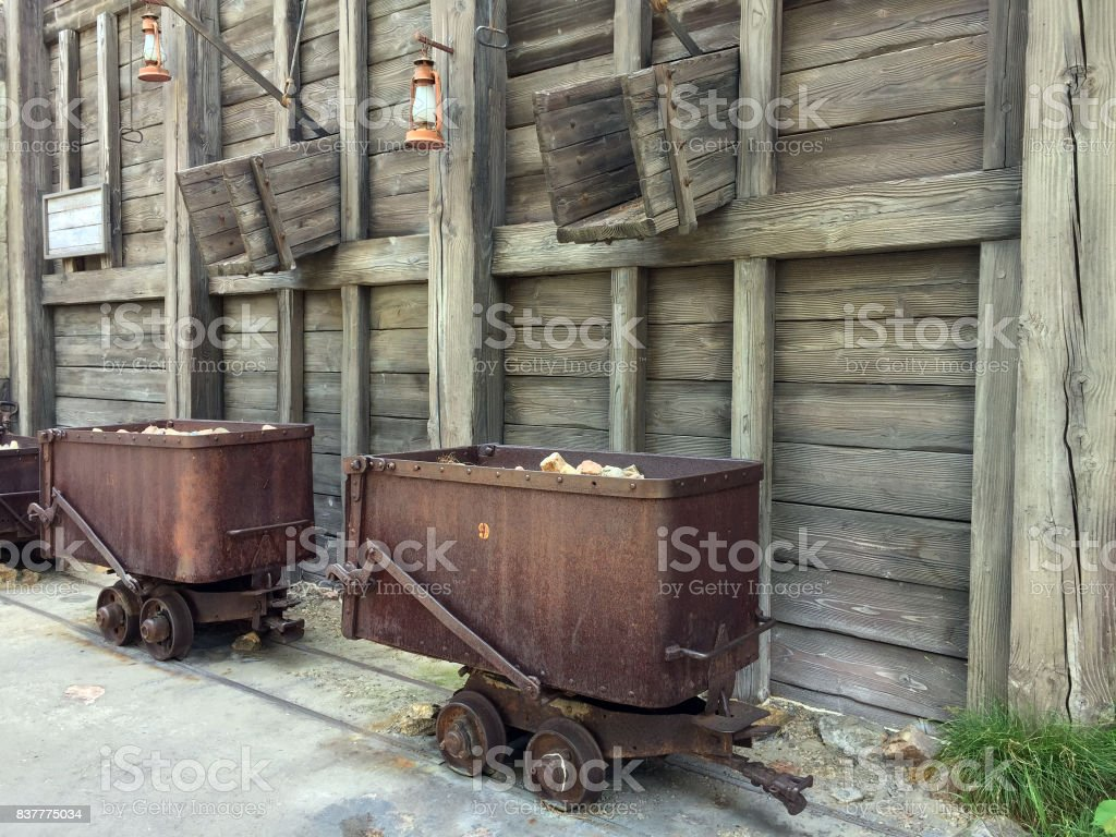 Old mining cars stock photo