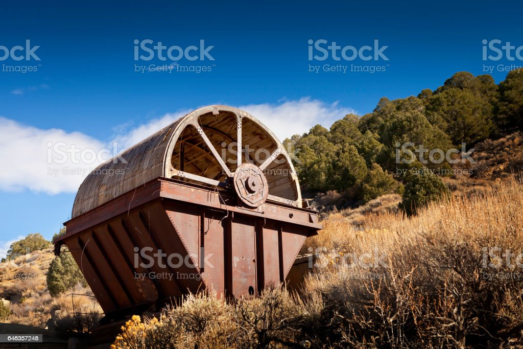 Old mining equipment in the desert near Como, Nevada. This is called an Oliver Filter and was used to separate material. stock photo
