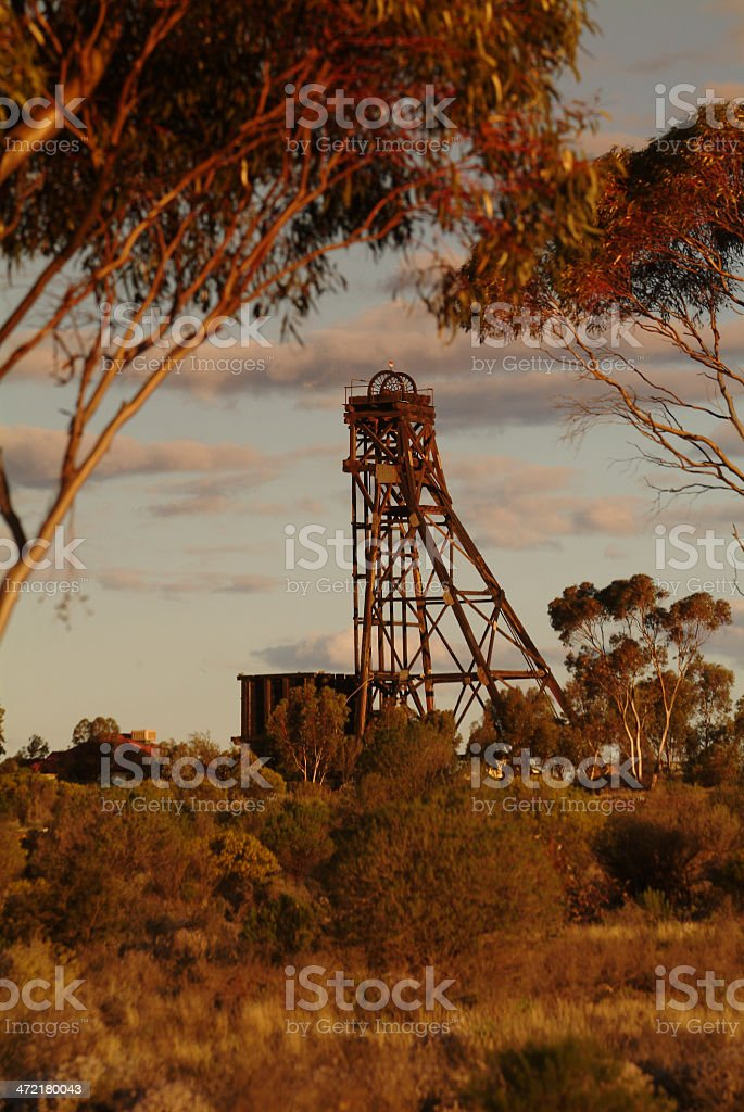 Old mining head frame. stock photo