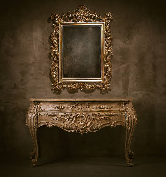 old mirror and commode - baroque stock photos and pictures