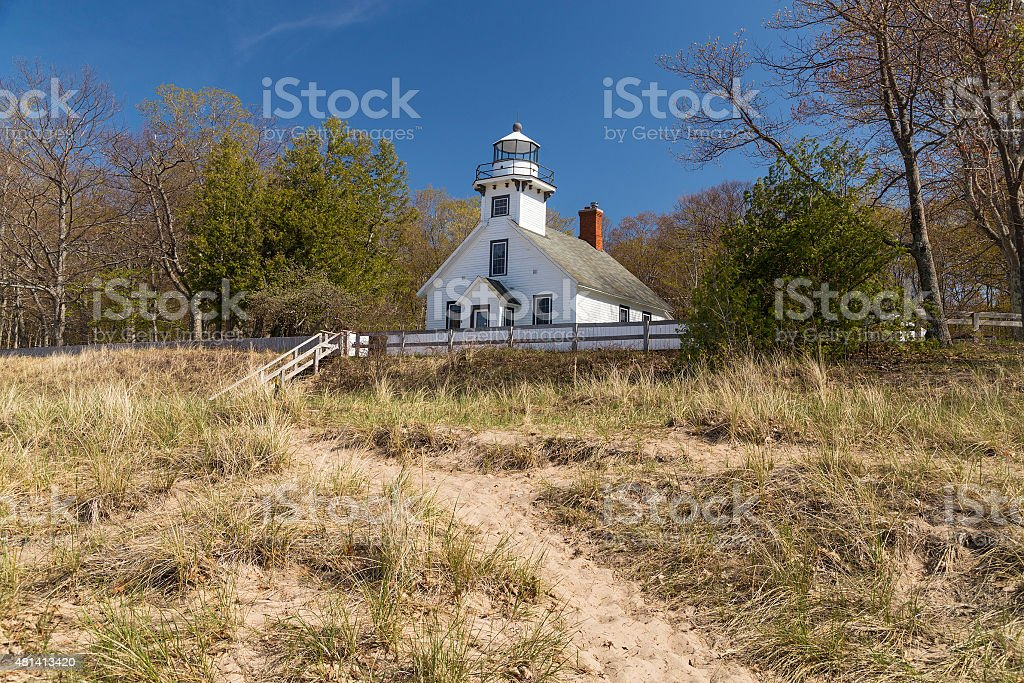 Old Mission point lighthouse stock photo