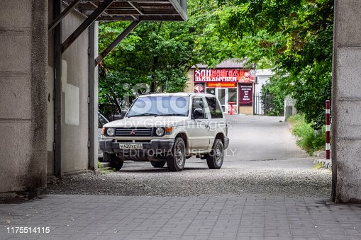 Novorossiysk, Russia - May 20, 2018: Old Mitsubishi SUV on the streets of Novorossiysk.