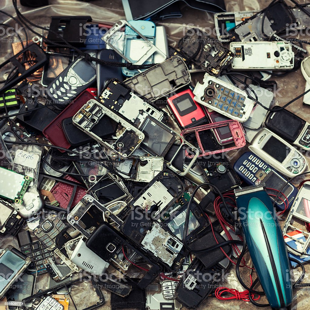 old mobile phones for sale at a flea market stock photo