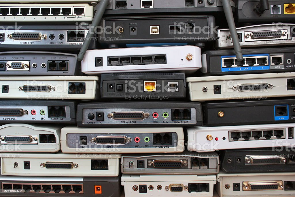 Old modems, routers, network equipment. stock photo