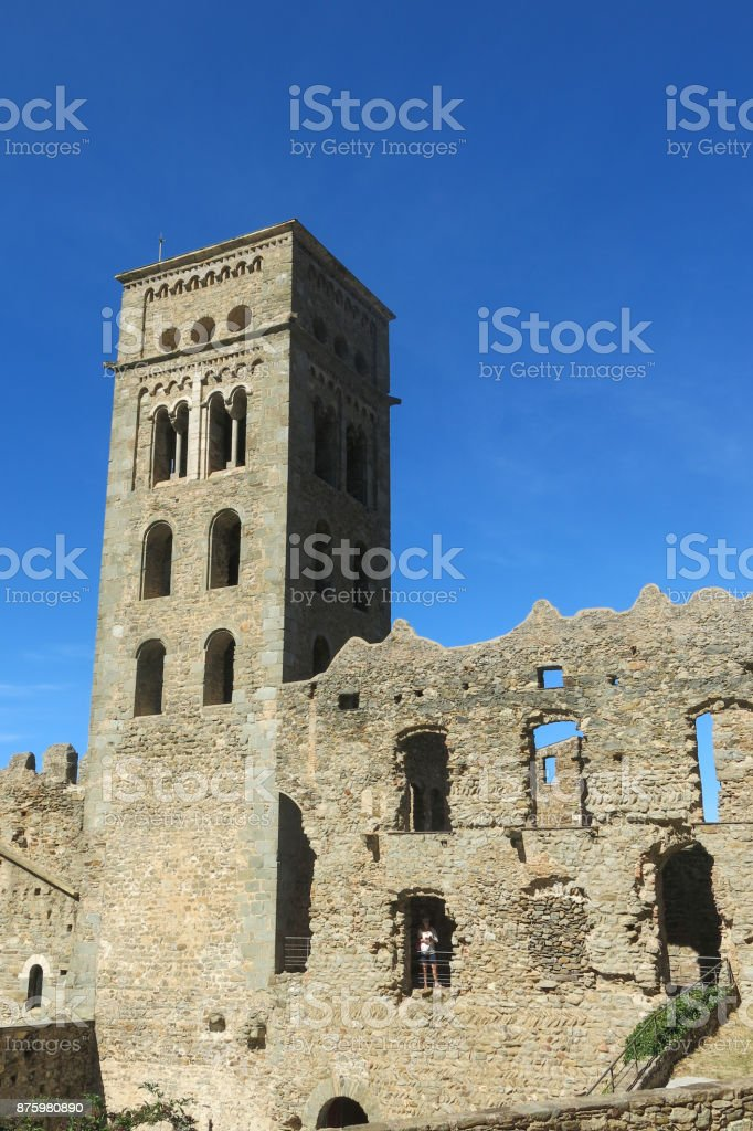 Old Monastery called Sant Pere de Rodes, Catalonia, Spain. stock photo