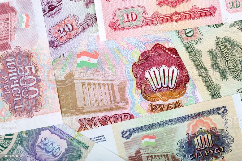 Gamla pengar från Tadzjikistan, en bakgrund - Royaltyfri Finans och ekonomi Bildbanksbilder