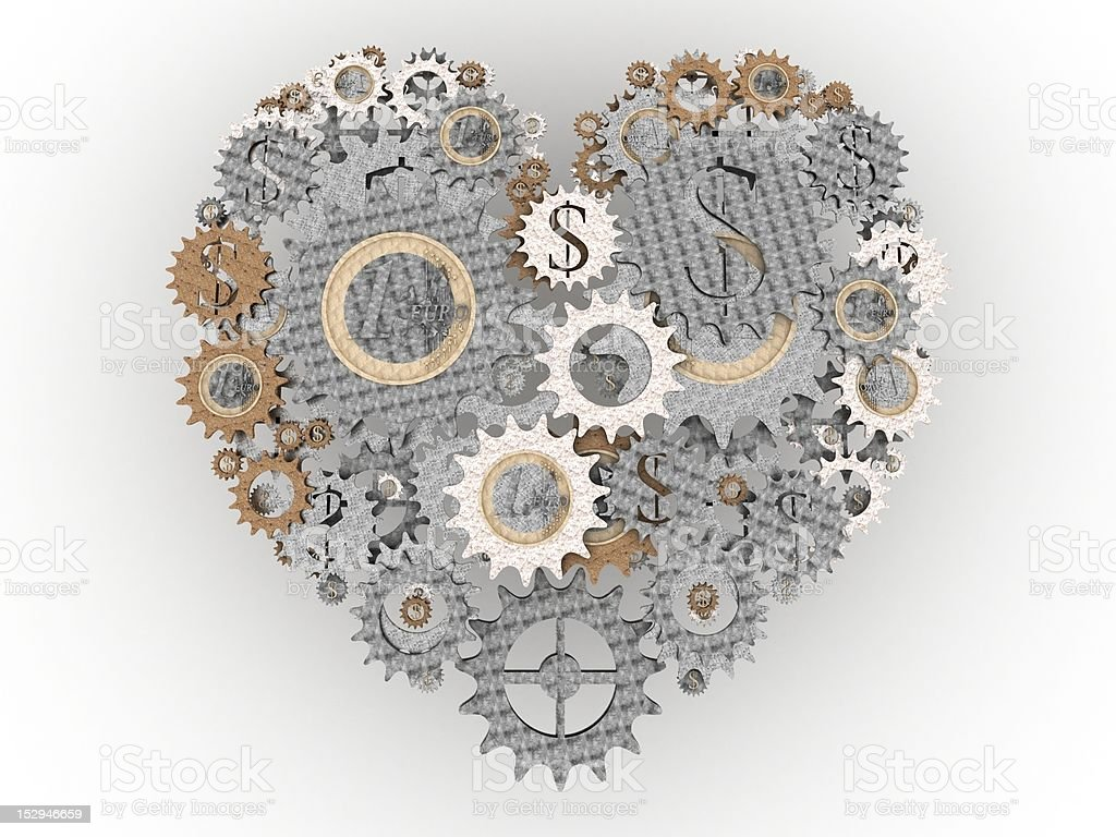 old money mechanism heart royalty-free stock photo
