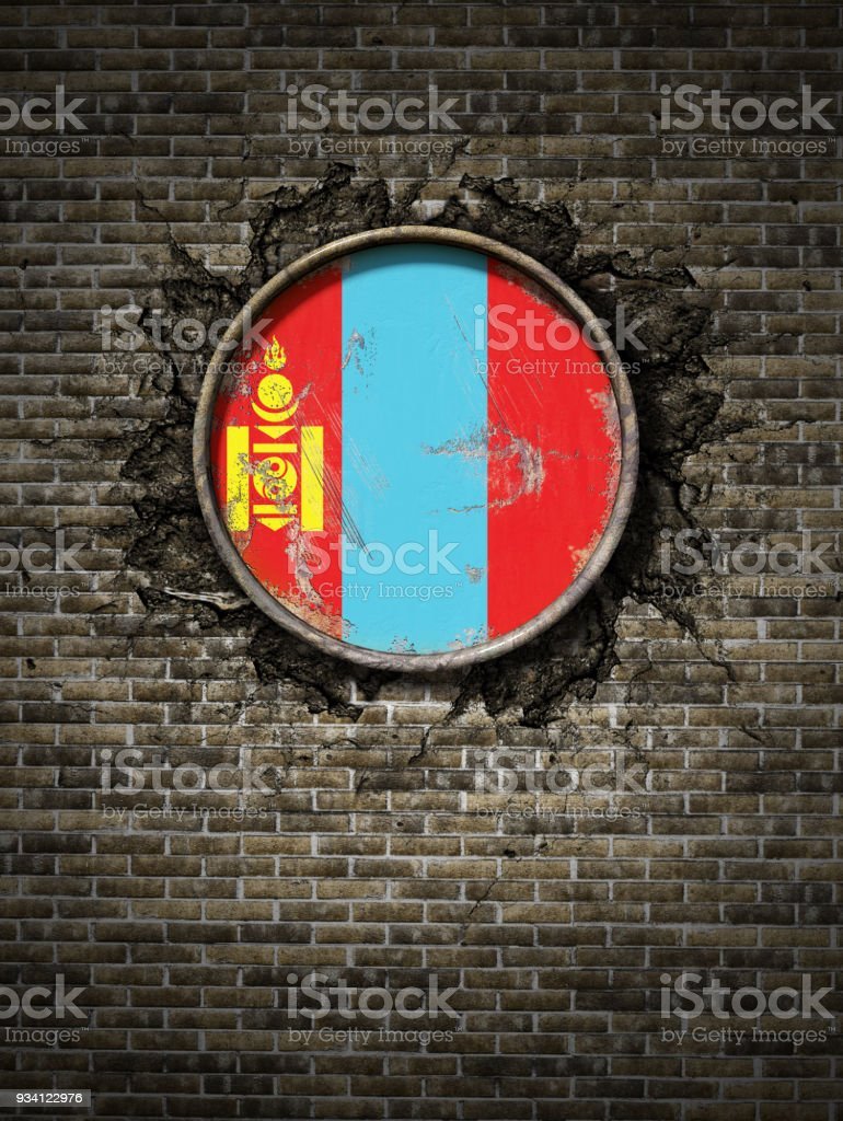 Old Mongolia flag in brick wall stock photo
