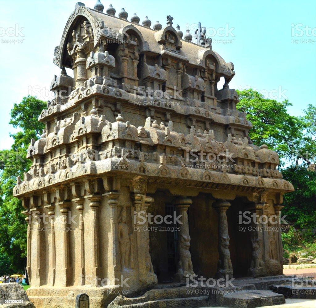 Old Monolithic temple in Mahabalipuram, India stock photo