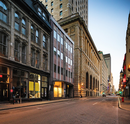 Old Montreal business district at dusk during covid epidemic