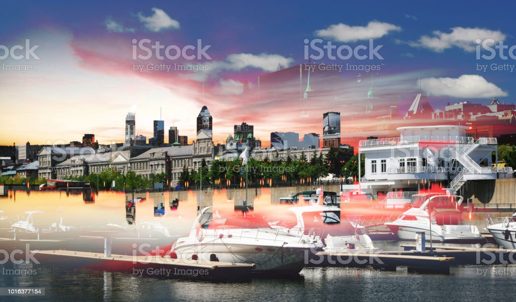 Old Montreal Marina Photo Montage royalty-free stock photo