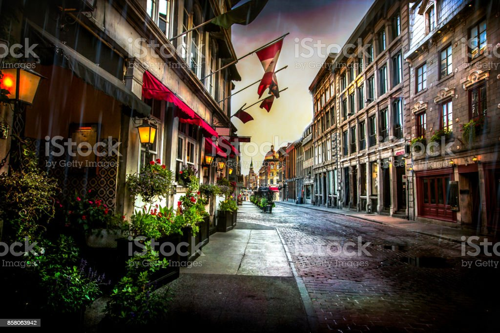 Old Montreal - St. Paul Street stock photo