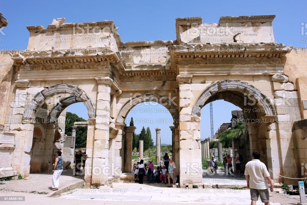 Old  monumental Gate of Augustus in the ancient city of Ephesus. stock photo