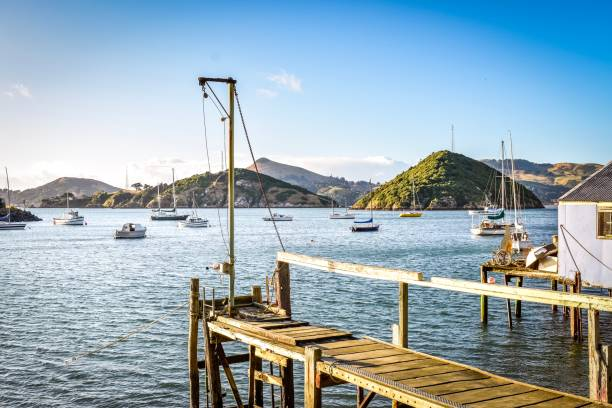 Old moored boats at Back Beach, Port Chalmers, Dunedin NZ stock photo
