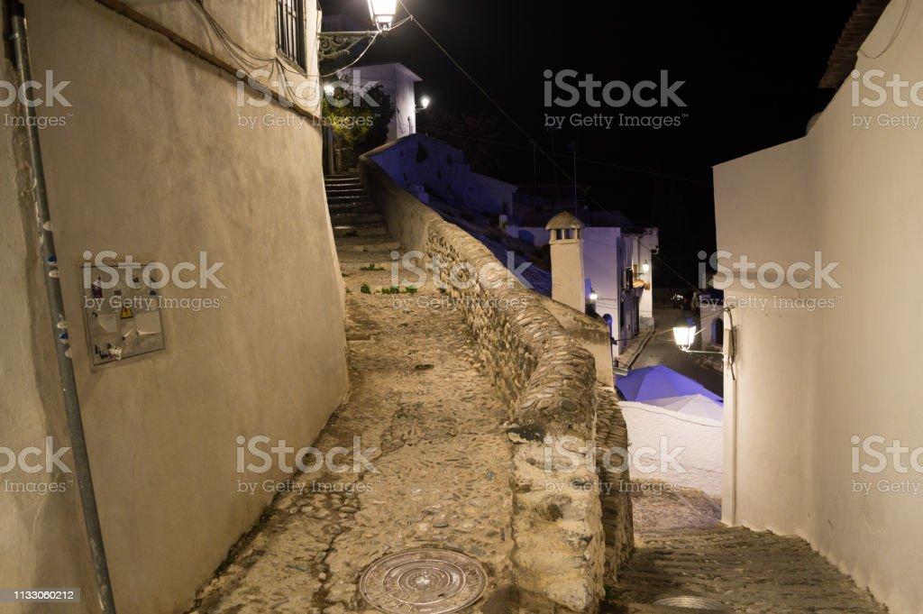 Old Moorish Quarter Albaicín In Granada Spain At Night Stock Photo