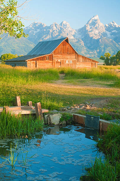 alte mormon barn gegen die tetons - jeff wood stock-fotos und bilder