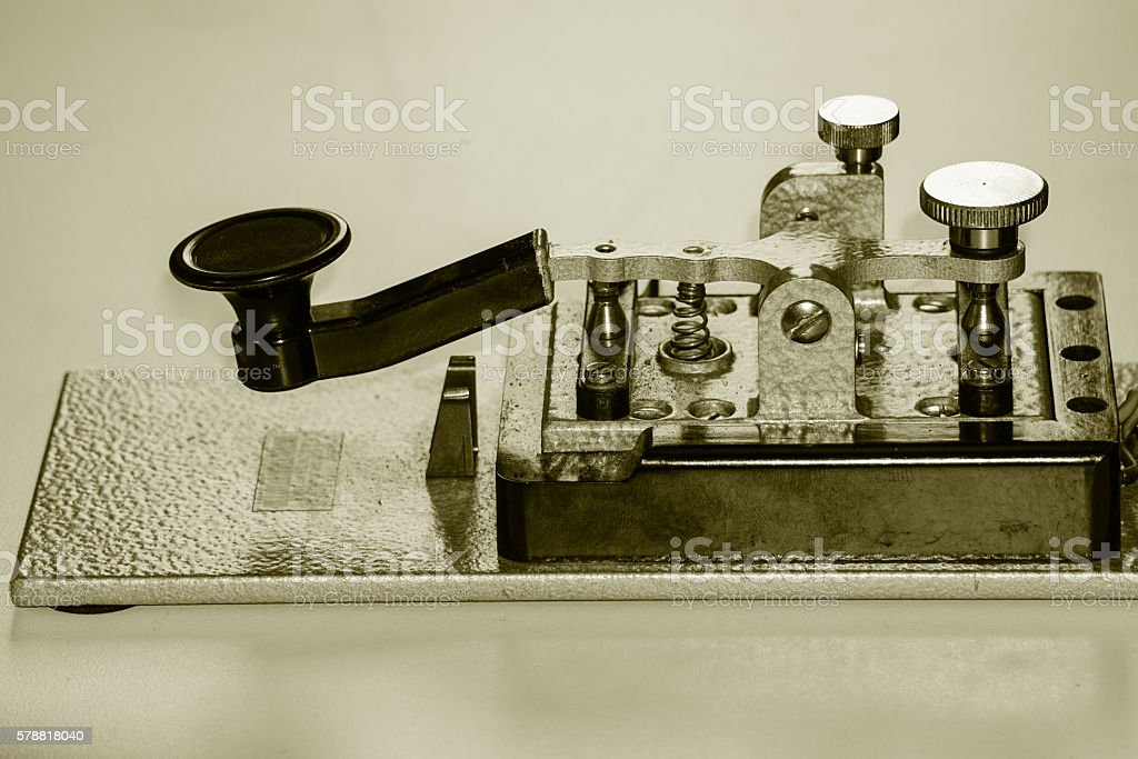 old morse telegraph key stock photo