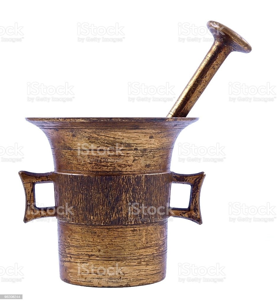 Old mortar and pestle stock photo