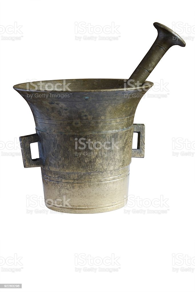 old mortar on white backgroound royalty-free stock photo