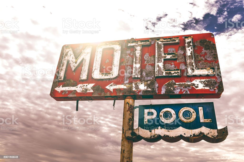 Old motel sign in Arizona stock photo