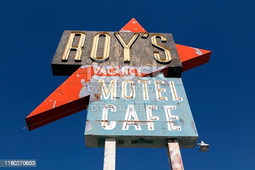 Closed old Roy's Motel and Cafe on Route 66, ghost town, Arizona.