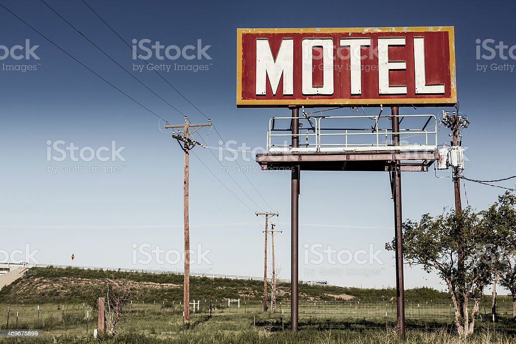 Old motel sign on Route 66 stock photo